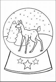 Coole Ausmalbilder Weihnachten Malvorlage Schneekugel Mit Einem Rehkitz Mit Bildern