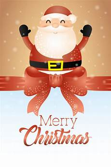 merry christmas card with cute santa claus vector free download