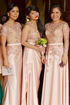 Simple Wedding Entourage Dresses left gown idea for lace bridal gown and entourage by
