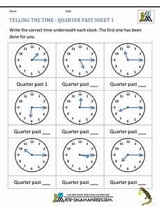 math worksheets for grade 1 telling time 3550 clock worksheet quarter past and quarter to