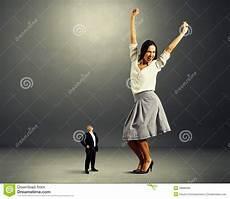 Frauen Klein - looking at glad stock photo image
