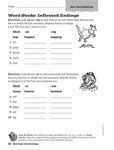 word study inflected endings worksheet for 5th grade lesson planet