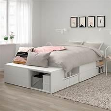platsa cadre de lit avec 4 tiroirs blanc fonnes ikea