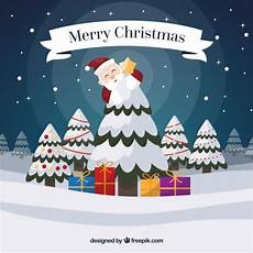 merry christmas background with santa claus and snowy tree vector free download
