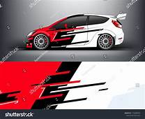 Racing Car Wrap Red Abstract Strip For