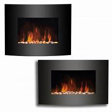 Wall Mounted Electric Fireplace Black Curved Glass Heater