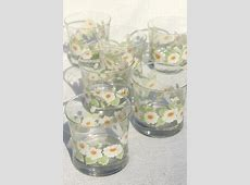 retro daisies vintage glass tumblers, old fashioned