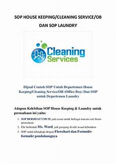 Cleaning Service Ob standar operasional prosedur sop cleaning service