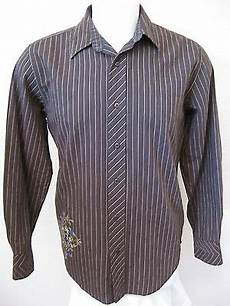 mens sleeve casual shirt m brown stripe modern fit anchor blue tattoo usd 19 94 end date