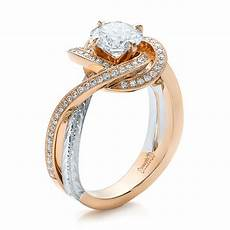 rose gold wedding band with platinum engagement ring custom rose gold and platinum diamond engagement ring