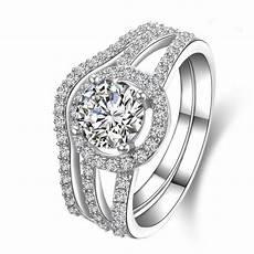 amazing design pure 18k white gold au750 ring 2ct