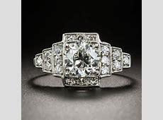 .99 Carat Art Deco Platinum Diamond Engagement Ring   GIA