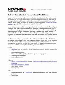 Apartment Must Haves Checklist by Neatnix Back To School Checklist Apartment Must Haves
