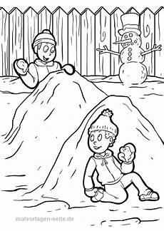Malvorlagen Winter Einfach Malvorlage Winter Schneeballschlacht Ausmalbilder