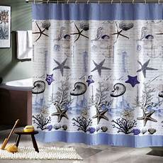 seashell shower curtain fabric polyester blue sea seashell waterproof shower