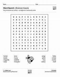 word search science insects childrens worksheets kids reading books second grade