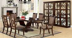 woodmont contemporary walnut formal dining with matching modern curio cm3663
