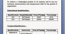 mechanical diploma resume format for freshers
