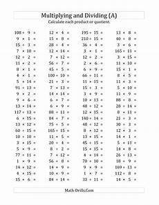 multiplication and division worksheets grade 1 4912 100 horizontal multiplication division questions facts 1 to 15 a