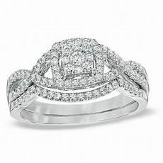 1 2 ct t w diamond cluster twist shank bridal in 10k
