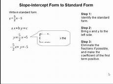 how to convert slope intercept form to standard form youtube