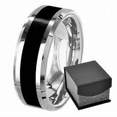 men s black titanium ring 8mm beveled edge wedding band