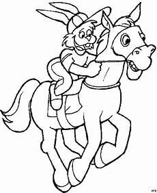 hase auf pferd ausmalbild malvorlage comics