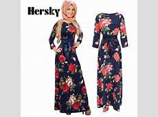 New Fashion Abaya Muslim Maxi Dress Women Islamic Printing