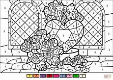 color by number worksheets hearts 16061 roses and color by number free printable coloring pages