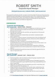 payroll manager resume sles qwikresume