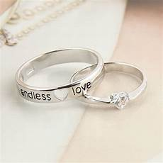 jewels engagement ring cute silver ring silver couple ring endless love lovely marriage