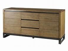 meuble sejour pas cher 110061 bahut 2 portes 3 tiroirs worker en acacia massif et pieds acier vente de buffet bahut