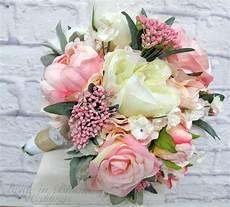 romantic wedding bouquet pink cream peony rose bridal