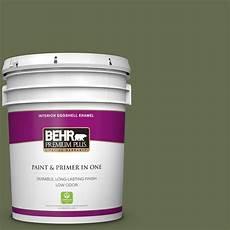 behr premium plus 5 gal s380 7 global green eggshell enamel low odor interior paint and primer