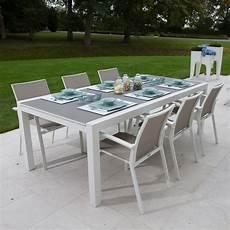 table jardin extensible alu table extensible alu blanc et verre gris 220 330x106 cm murray
