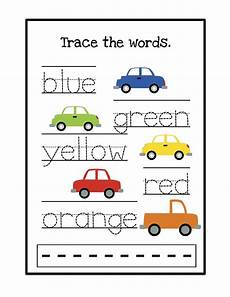 colors tracing worksheets 12820 cars trace the words jpg 1 236 215 1 600 pixels colors kindergarten childhood