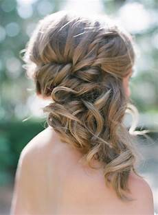 braided side swept medium hair with curly tips almost baer in 2019 wedding hair side side