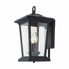 lnc 2 light candle style black outdoor wall lantern with clear glass a03278 the home depot