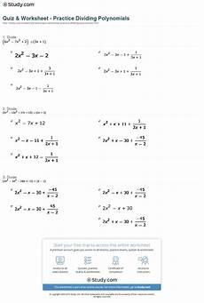 quiz worksheet practice dividing polynomials study com
