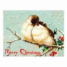 merry christmas vintage birds postcard zazzle
