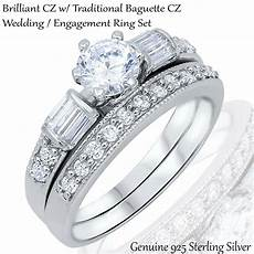 brilliant engagement wedding traditional baguette cz silver ring size 3 12 ebay