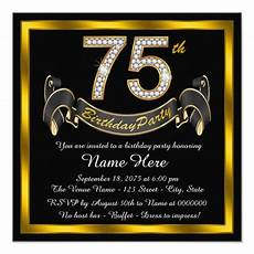 75th birthday card template gold 75th birthday invitation zazzle