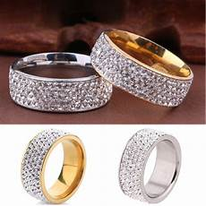 couple stainless steel gold silver crystal ring men wedding band rings new ebay