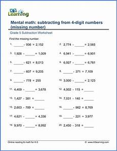 maths addition and subtraction worksheets for grade 5 grade 5 subtraction worksheets missing minuend problems