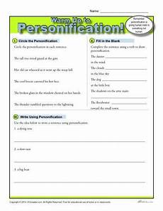 personification warm up activity k12 figurative language language arts worksheets