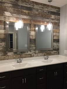 master bath double vanity sink barn wood accent wall and pendant lights bathroom in 2019