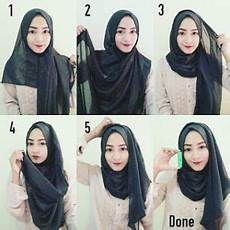 8 Tutorial Pashmina Sifon Simple Dan Gang