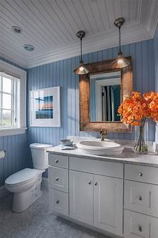coastal bathroom with blue and white motif blue bead