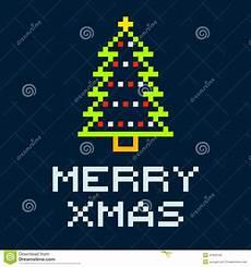 8 bit pixel merry christmas tree stock vector image 47933132
