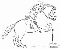 Ausmalbilder Pferde Supercoloring Jumping With Rider Coloring Page In 2020